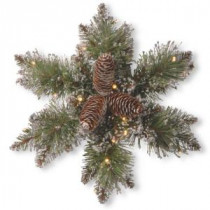 Glittery Bristle Pine 14 in. Artificial Snowflake with Battery Operated Warm White LED Lights