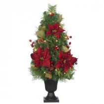 32 in. Burgundy Poinsettia and Berry Potted Artificial Christmas Tree with 35 Clear Lights