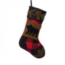 19 in. Polyester/Acrylic Plaid Christmas Stocking with Rug Hooked Bear