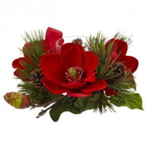 7 in. Red Magnolia and Pine Candelabrum
