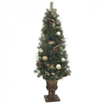 5 ft. Unlit Golden Holiday Mixed Pine Potted Artificial Christmas Tree