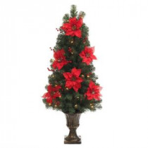 4 ft. Poinsettia and Berry Potted Artificial Christmas Tree with 50 Clear Lights
