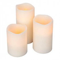 Flameless Timer Pillar Bisque Color Candles with Wavy Edge (Count of 3)