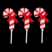 19 in. Frosted Candy Cane Pathway Marker with LED Illumination (Pack of 3)