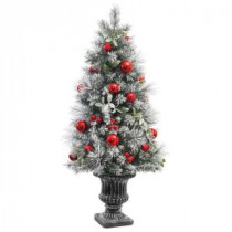4 ft. Unlit Flocked Pine and Mistletoe Potted Artificial Christmas Tree
