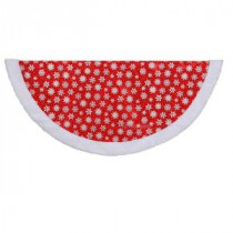 48 in. Red and White Glitter Print Organza Christmas Tree Skirt