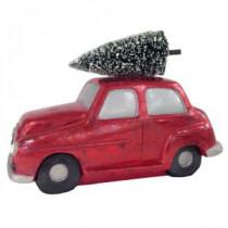 7 in. Car with Bottlebrush Tree in Cherry Satin
