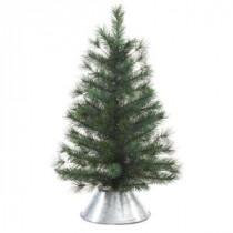 29 in. Unlit Artificial Pine Tree in Metal Bucket