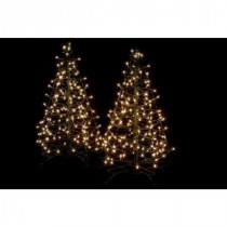 3 ft. Pre-Lit Incandescent Fold Flat Outdoor-Indoor Artificial Christmas Trees with 160 Clear Lights (2-Pack)