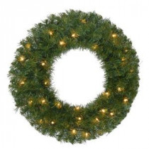 24 in. Pre-Lit Noble Fir Artificial Christmas Wreath with 35 Clear Lights