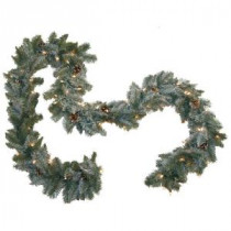 9 ft. Pre-Lit Siberian Branch Garland with Clear Lights