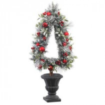 45 in. H Unlit Flocked Pine and Mistletoe Artificial Christmas Tree Topiary