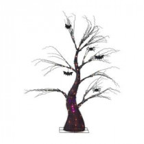 70 in. Black Ghost Tree with Bat and Spider