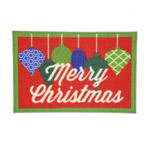Christmas Ornaments 17 in. x 29 in. Printed Holiday Mat