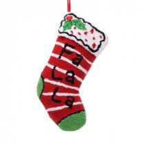 19 in. Polyester/Acrylic Hooked Christmas Stocking with Fa La La