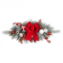 32 in. Flocked Pine Swag with Red and White Ball and Velvet Bow