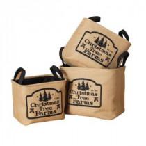 Soft Jute Christmas Tree Farms Storage Basket (Set of 3)