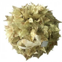 14.5 in. Dried Floral Wreath Gold Glittered Kissing Ball