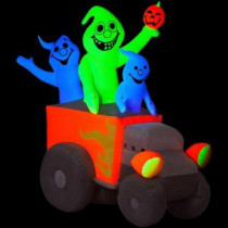5 ft. Airblown Inflatable Halloween Neon Hot Rod Ghosts