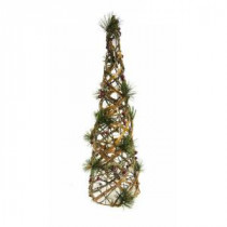 24 in. Rattan and Berry Christmas Cone Tree with 20 LED Lights