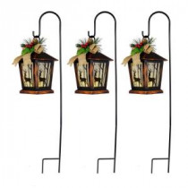 27 in. Christmas Reindeer Lantern Pathway Markers with Sheppard&#39,s Hook (Set of 3)