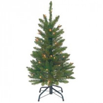 3 ft. Kingswood Fir Wrapped Pencil Artificial Christmas Tree with Clear Lights
