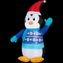 31.10 in. W x 18.11 in. D x 42.13 in. H Lighted Inflatable Outdoor Penguin in Sweater