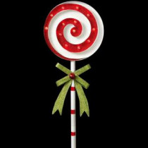 39 in. H Battery Operated Lighted Metal Holiday Swirl Lollipop Yard Stake