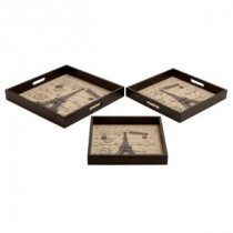 Paris Wooden with Pleather Tray Set