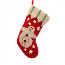 19 in. Polyester/Acrylic Hooked Christmas Stocking with Snowman