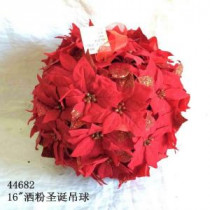 14.5 in. Dried Floral Wreath Red Glittered Poinsettia Kissing Ball
